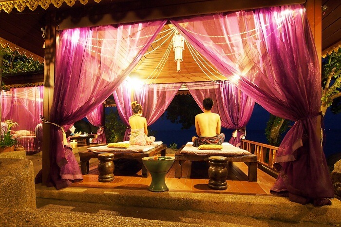 Tourists relaxing at a spa center in Koh Samui