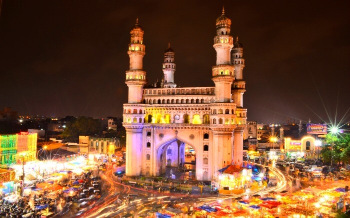 The four spectacular minarets of Charminar in Hyderabad