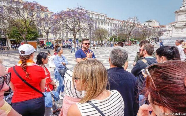 People enjoying walking tour in Europe