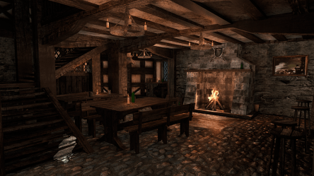 3D Fantasy Tavern + Interior and 39 props