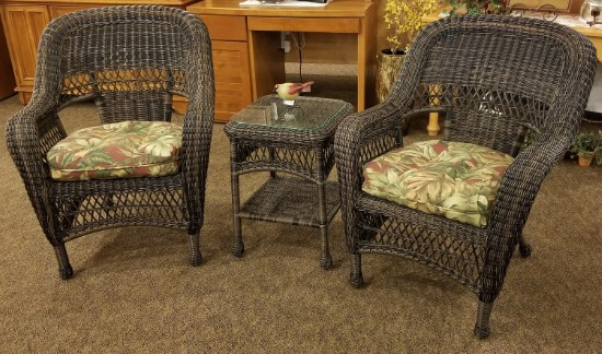 vinyl wicker chairs wheel chair cushions 3 piece patio set this has never been outside and