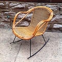 Wrought Iron Rocking Chair White Covers With Gold Sash Mid Century Rattan And Rocker Great