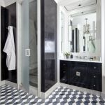 Eclectic White Bathroom With Black Accent Wall Luxe Interiors Design
