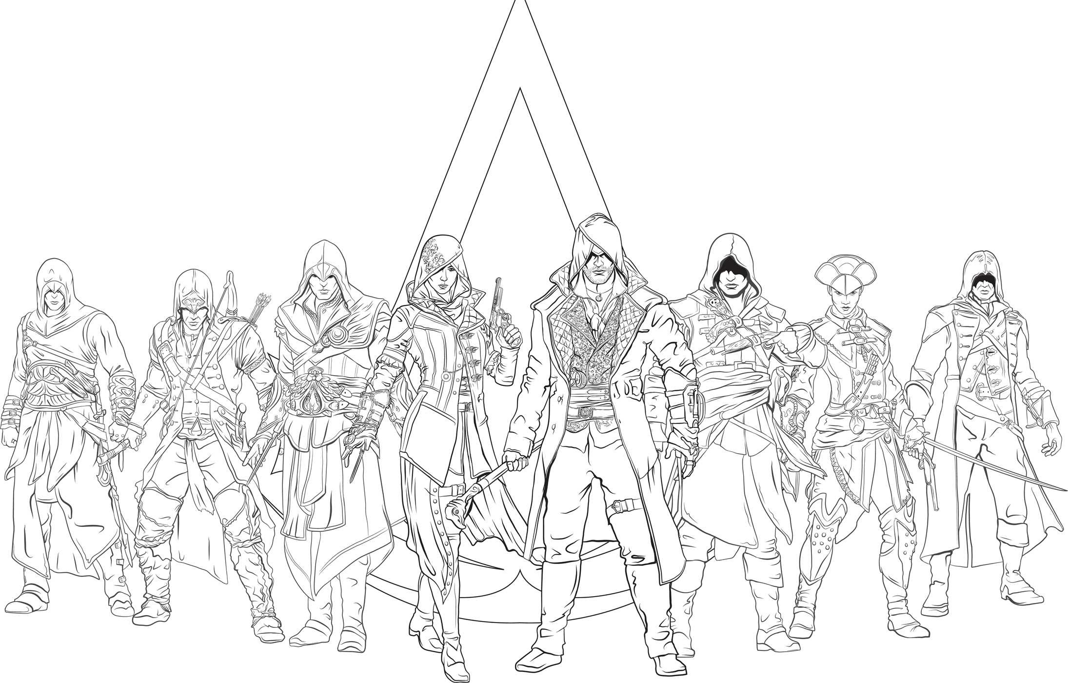 Assassins Creed Draw Sketch Coloring Page