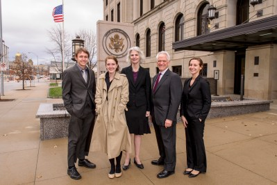 Paul Gerlich and Erin Furleigh (ISU student-plaintiffs) Catherine Sevcenko (FIRE), Bob Corn-Revere and Lisa Zycherman (Davis Wright Tremaine)