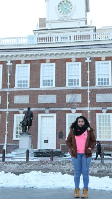 Ivette Salazar outside of Independence Hall in Philadelphia. Photo courtesy of FIRE/Chris Maltby.