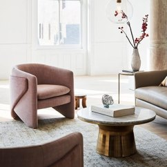 Accent Armchairs For Living Room Wall Clock How To Decorate With Chairs West Elm Curated Image Thea Chair Yarn Dyed Linen Weave Light Pink Marble Topped
