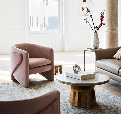 accent chairs for living room ergonomic drafting melbourne how to decorate with west elm curated image thea chair yarn dyed linen weave light pink marble topped