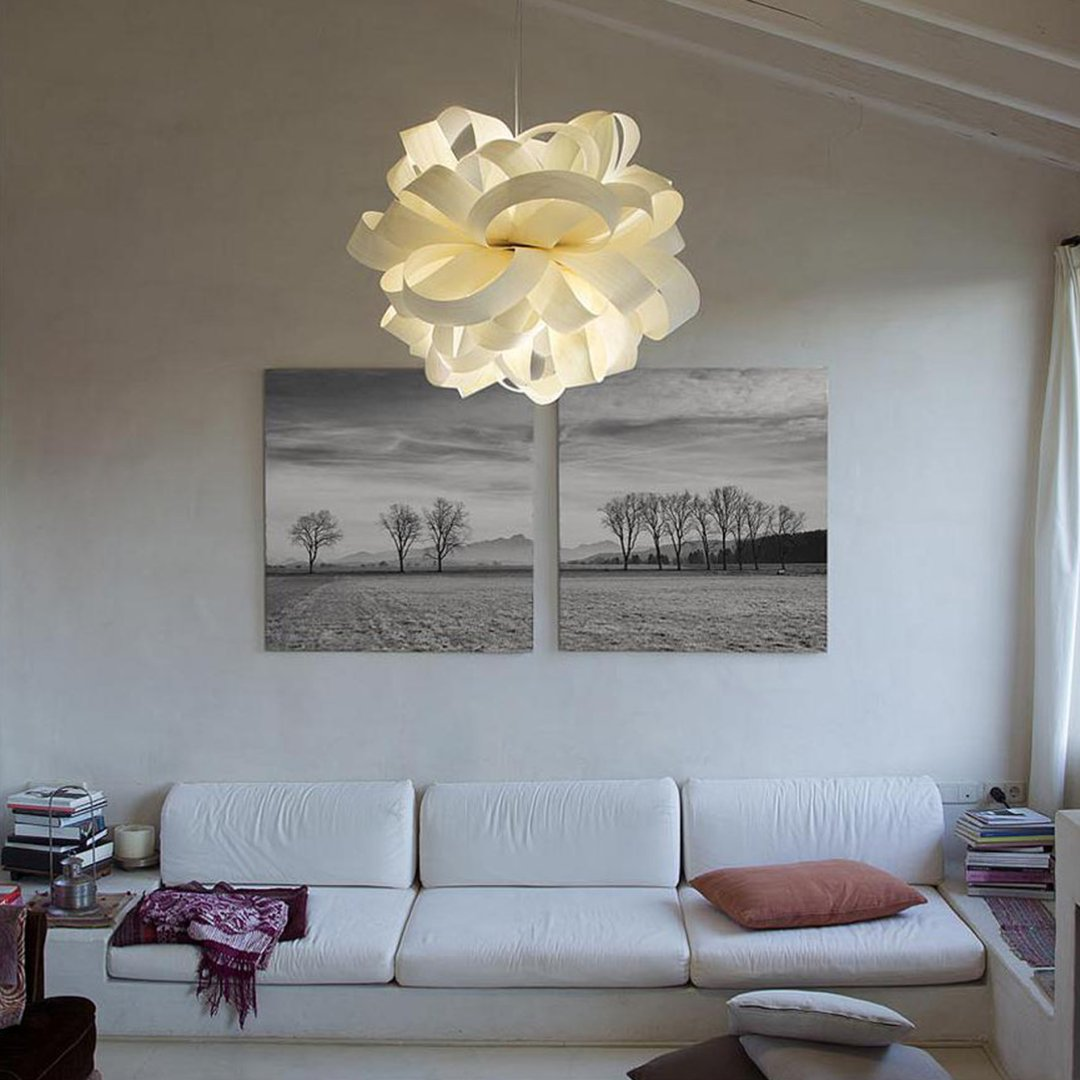 lighting for living rooms how to furnish small room with fireplace choose the right ceiling light fixture size at lumens com curated image agatha bola suspension by lzf