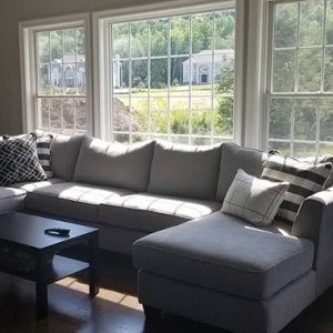 raymour and flanigan sectional sofas sofa springs repair kit daine 3 pc pebble gray the new couch we really wanted something comfortable with lots of seating our old