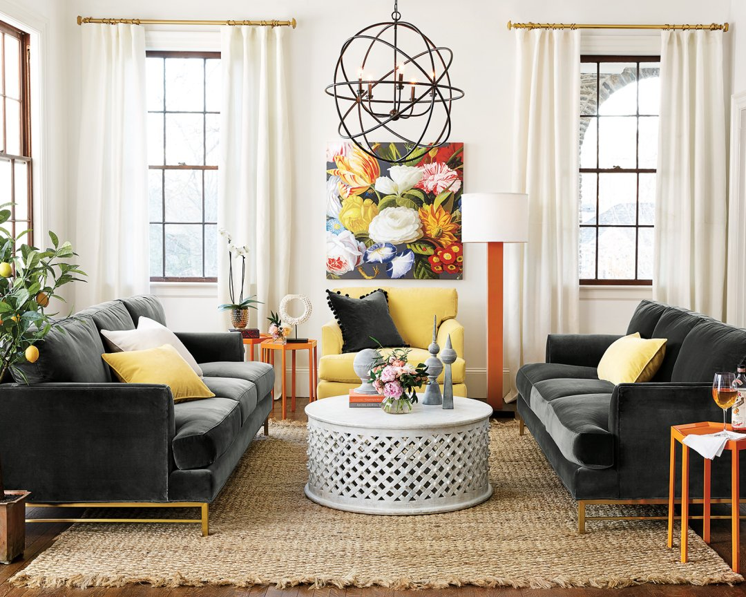 sofa and more sofas with removable machine washable covers 15 ways to layout your living room how decorate shop beau orb chandelier opulence floral art bornova coffee table grant square column floor lamp kathryn upholstered chair braided jute rug