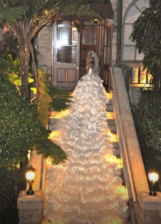 Longest Wedding Dress Train Ever Looks Like a White Christmas Tree  WTF  Funny  Faxo