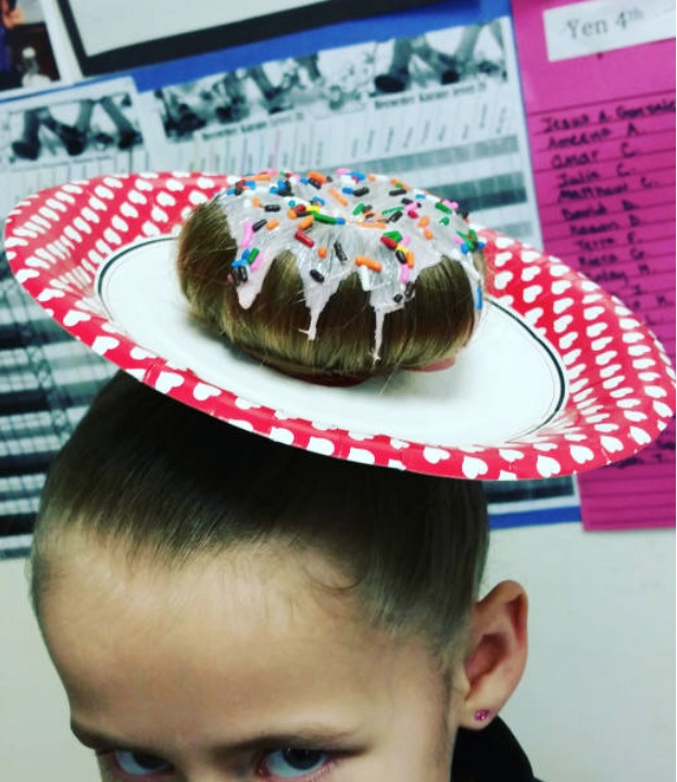 Delicious Hair Bun Frosted Donut With Sprinkles Funny Faxo
