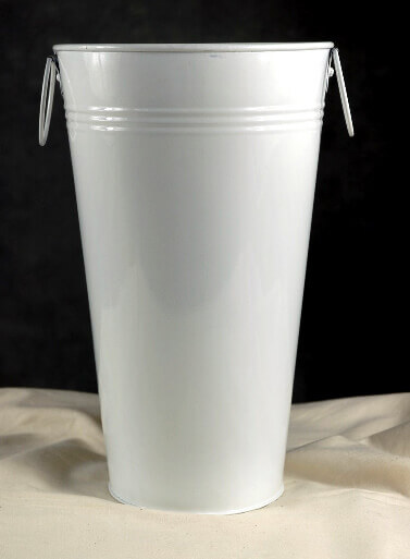 11 White Flower Market Buckets with handles