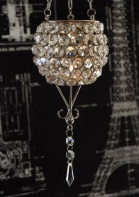 Hanging Crystal Candle Holder 22.5in