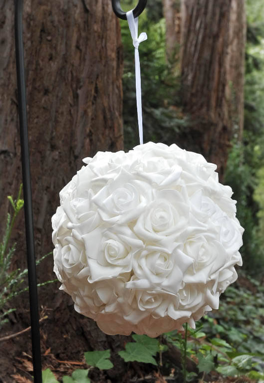 Hanging Natural Touch Rose Flower Ball White 10in Wedding