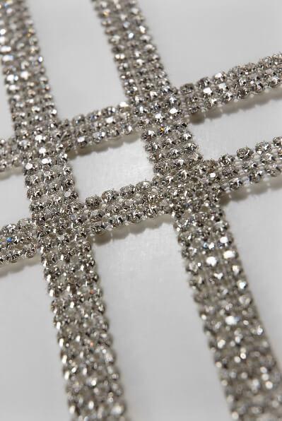 Diamond Ribbon Trim With Glass Stones 12in X 3 Yards