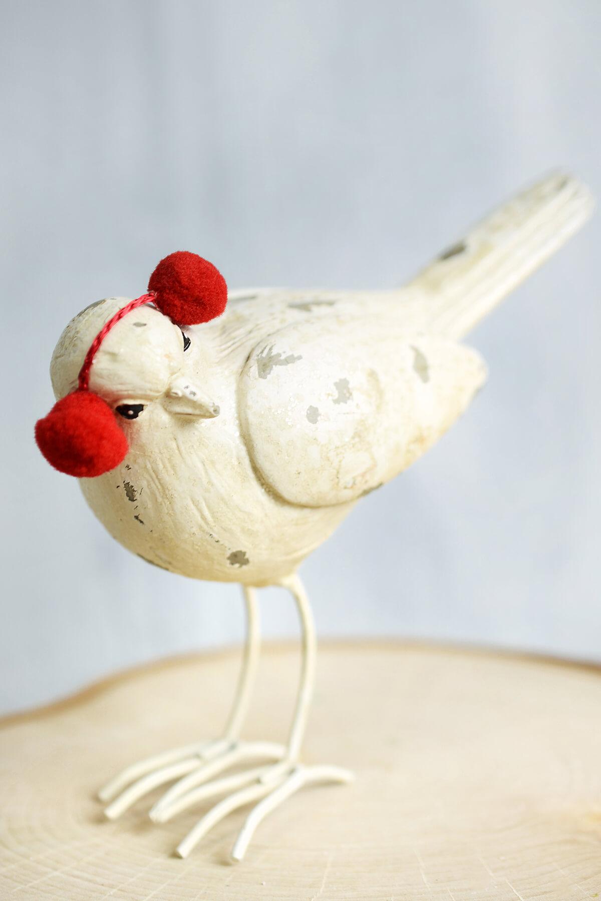White Christmas Mantel Bird With Ear Muffs