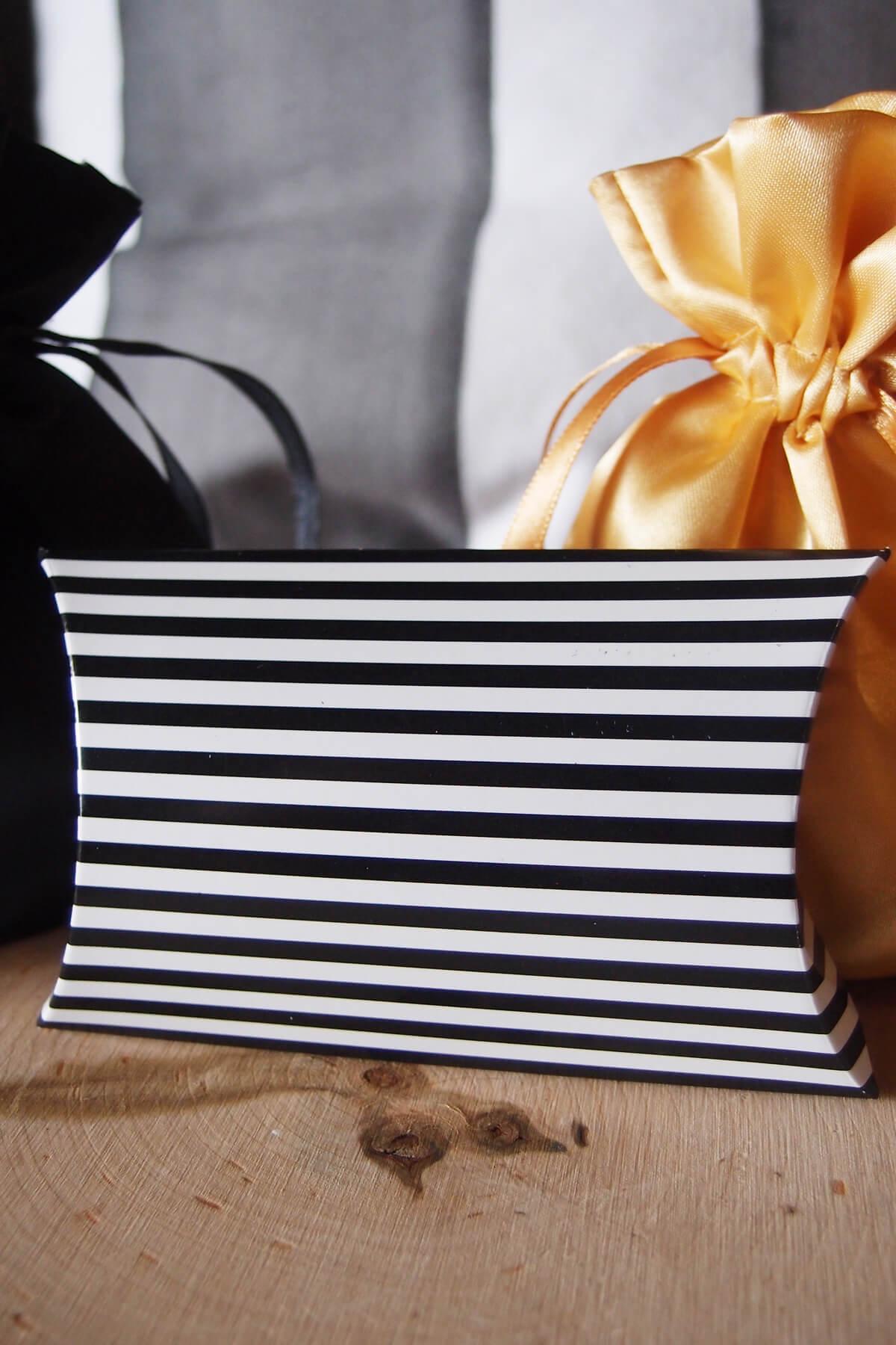 12 Black  White Striped Pillow Favor Boxes