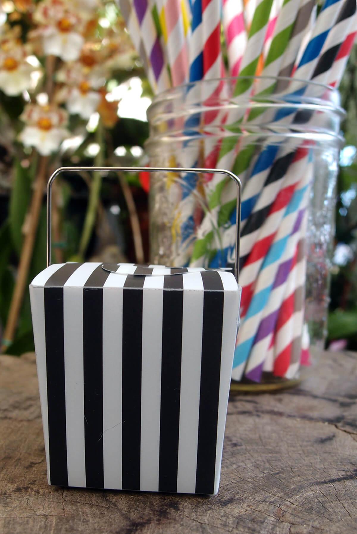12 Mini Black Amp White Striped Takeout Boxes 2 12 Boxes