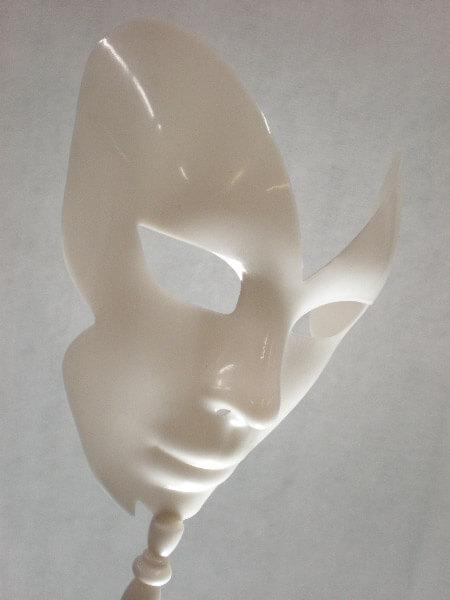 Designer Mask 8Inch White on Wooden Dowel