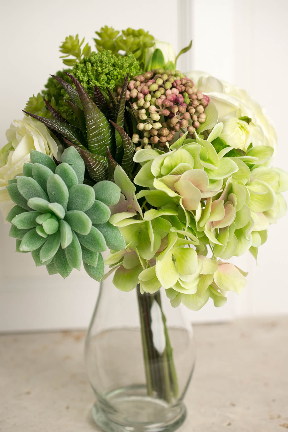Faux Hydrangea Rose  Succulent Bouquet in Green and