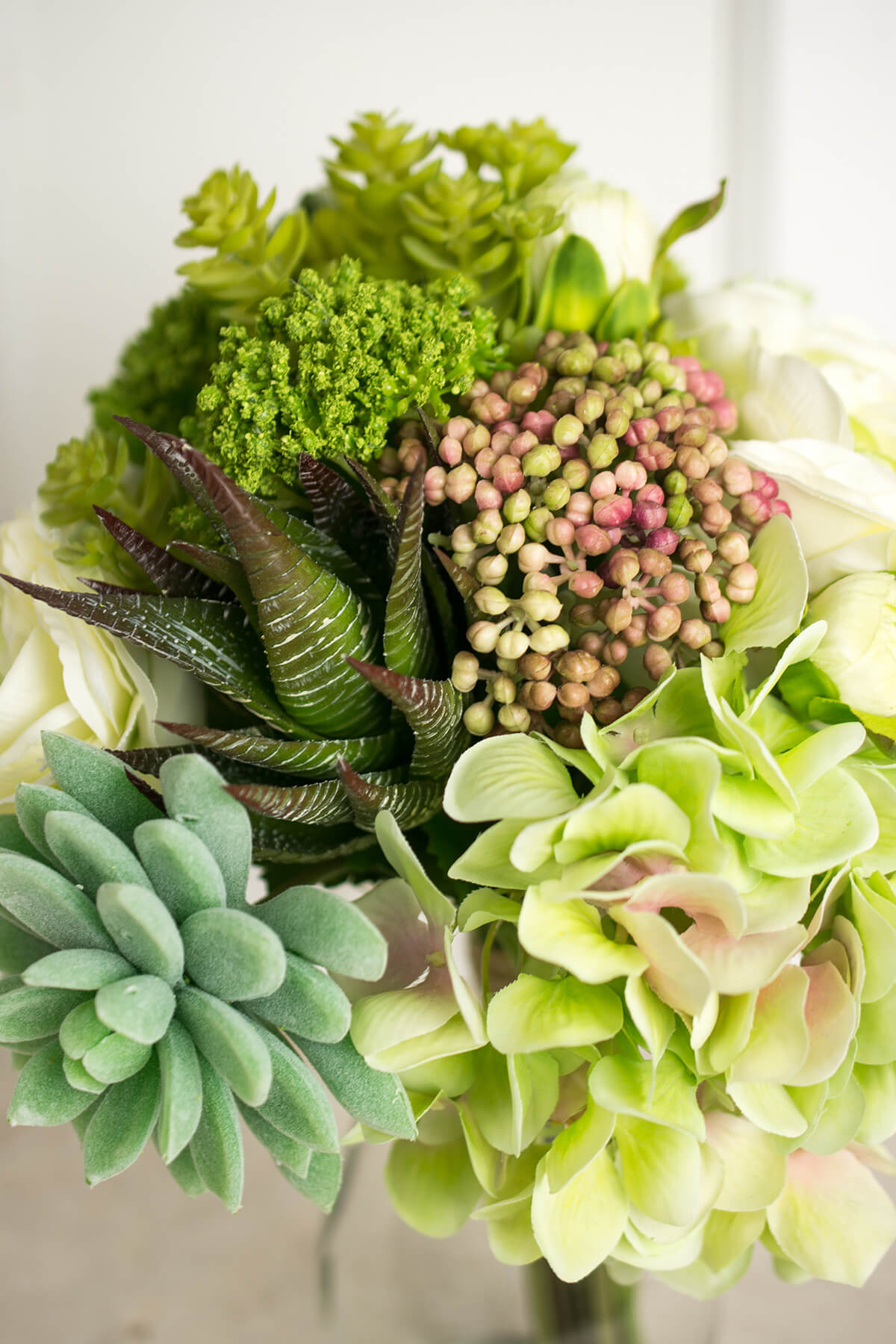 Faux Hydrangea Rose Amp Succulent Bouquet In Green And