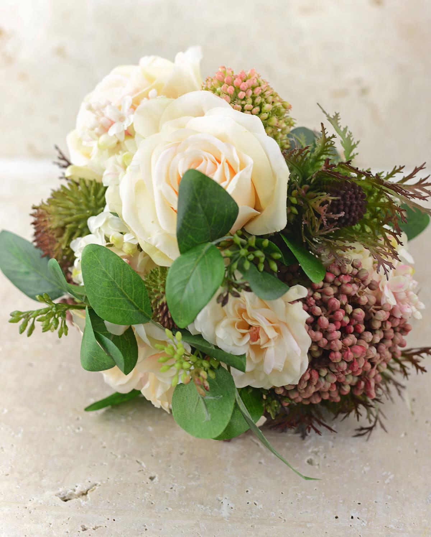 Rose Lilac Amp Thistle Silk Bouquet Peach Green 11 Tall