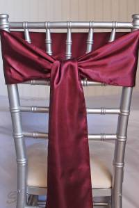 10 Burgundy Satin Chair Sashes 6x106
