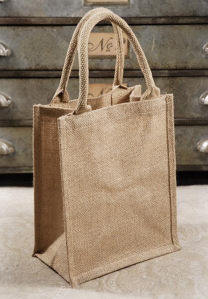 6 Burlap Tote Favor Bags with Handles 11 x 9