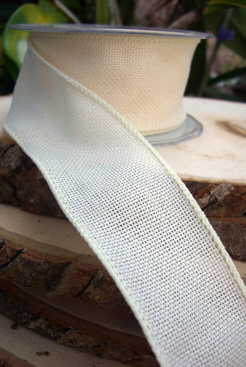 Extra Fine Ivory Burlap Wired 2 Wide Ribbon 10yds