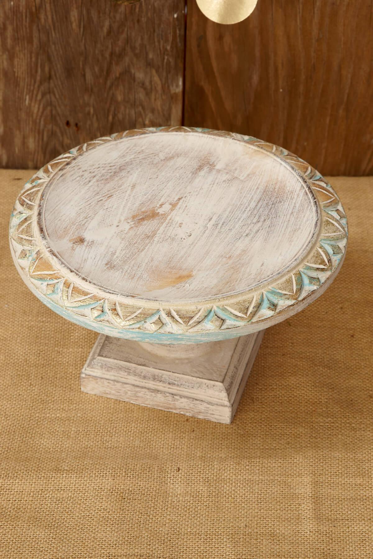 Wood Cake Stand White