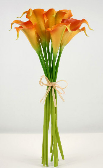 Small Real Touch HandTied Orange Calla Lily Wedding
