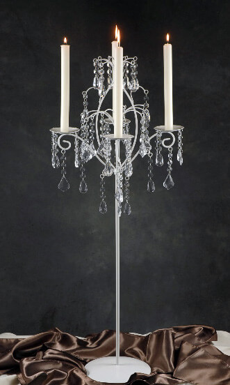 White Candelabra With Hanging Crystals Set Of 2