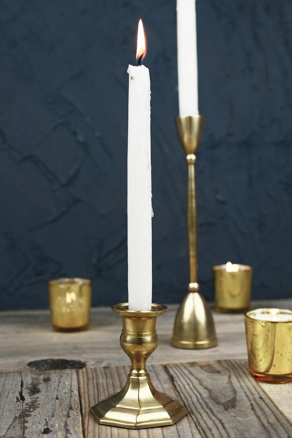"Gold Metal 3"" Taper Candle Holder, Antique Candlestick"
