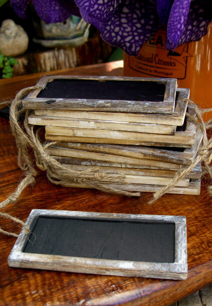 12 Chalkboard Tags with Wood Frame 2x4 Double Sided
