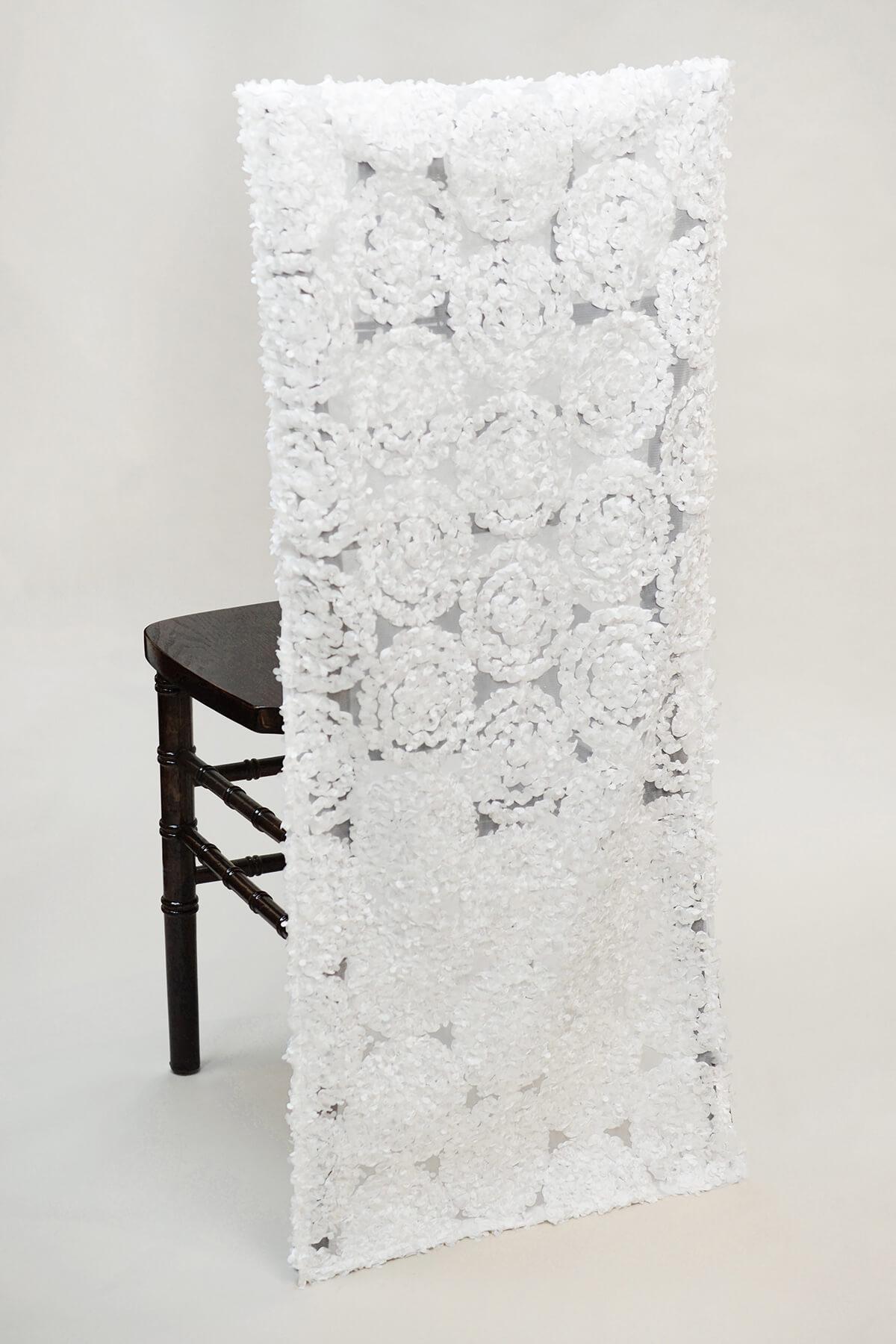 wishing chair photo frame office qatar chiavari sleeves white swirls
