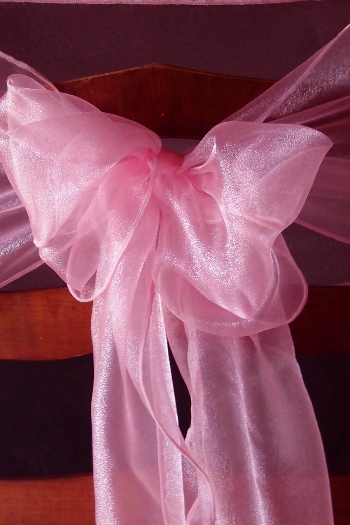 coral sashes for wedding chairs desk and chair with storage bin 10 organza pink