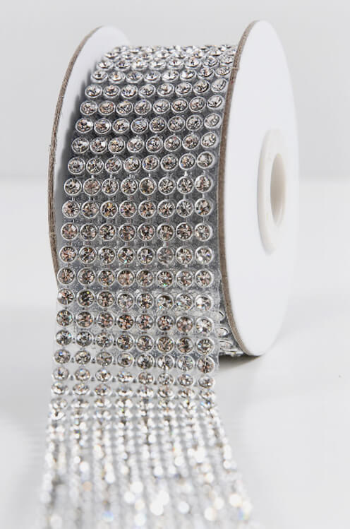 Diamond Ribbon Trim With Glass Stones 1 38in X 41in 8 Rows