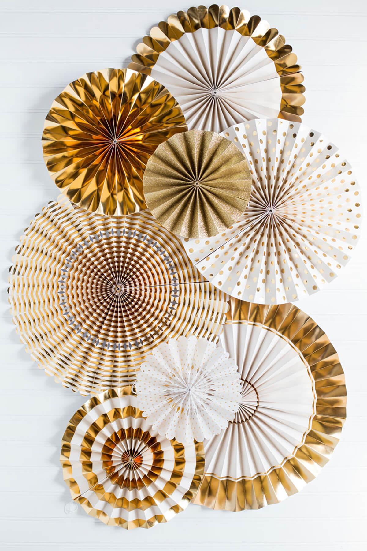 hanging chair range aeron desk fancy party fans rosette pinwheels gold & white, wedding decorations, 8 fans, mme
