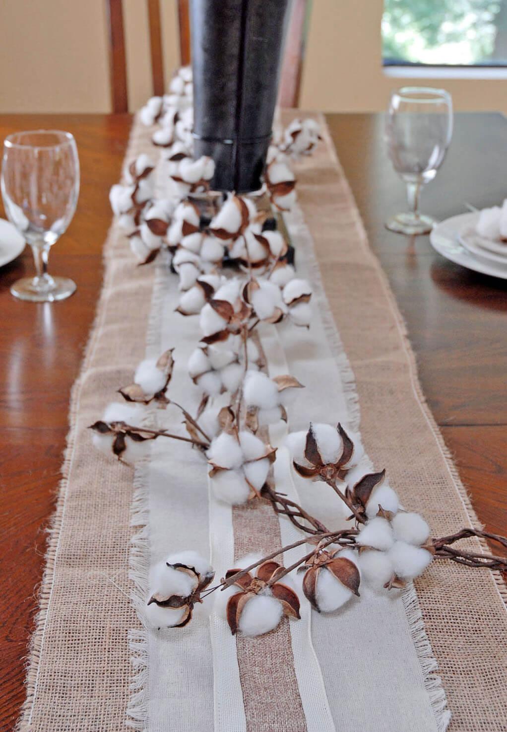 6 Faux Cotton Boll Garland