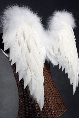 burlap chair sashes club and ottoman handcrafted 27x20 white angel wings with marabou ostrich trim