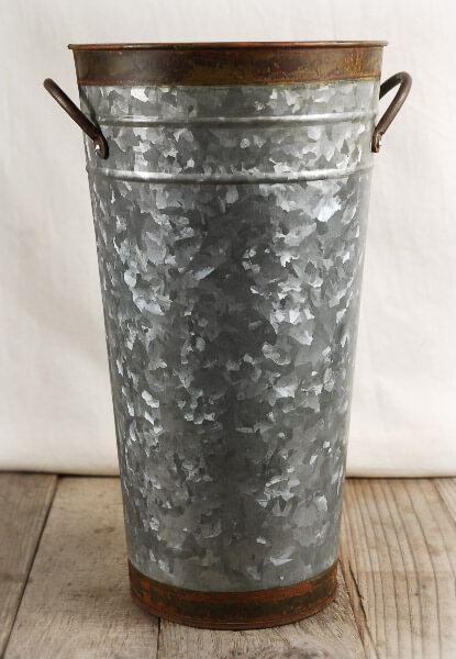 Two Tone 13 Galvanized French Flower Market Buckets With