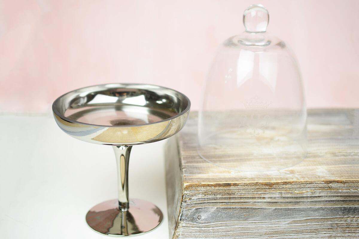 Glass Amp Silver Pedestal 10in Dessert Stand Cloche