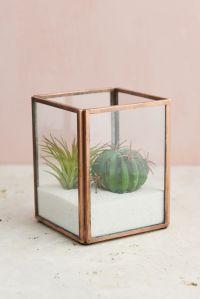 Glass Terrarium Display Case Copper Small
