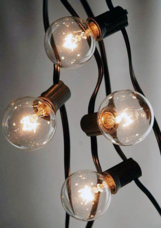 25 Outdoor Patio String Light Set G40 Clear Globe Bulbs 28