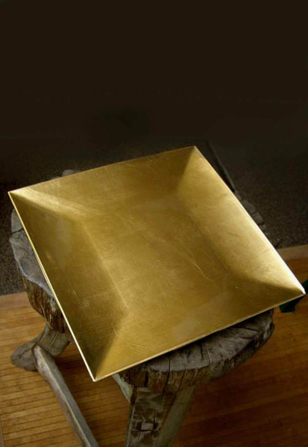 """Gold Lacquered Square Charger Plates 12"""""""