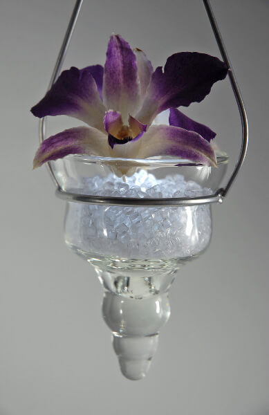 Glass Cone Hanging Candle Holder