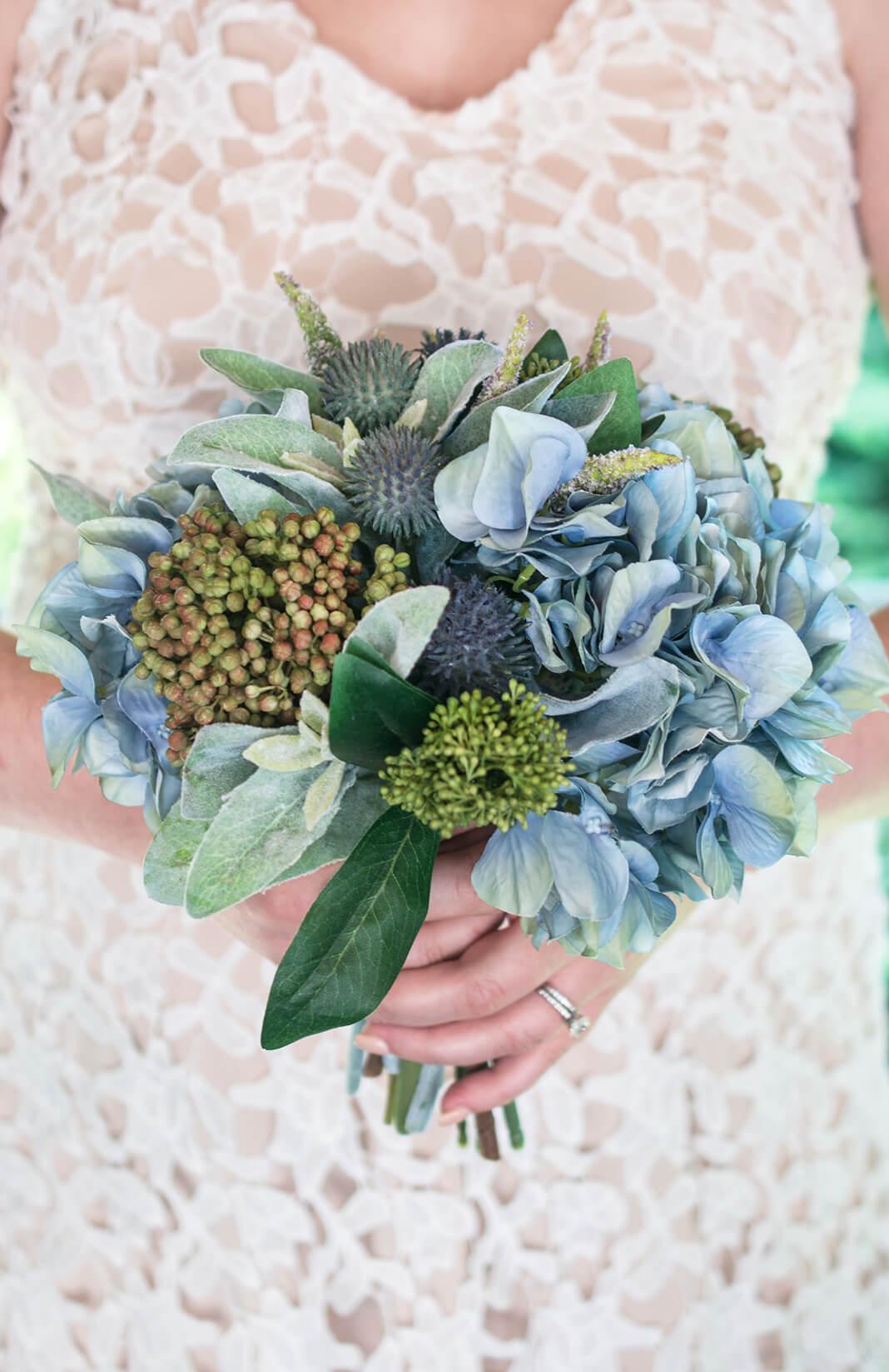 Blue Hydrangea Thistle Lambs Ear Bouquet 11in