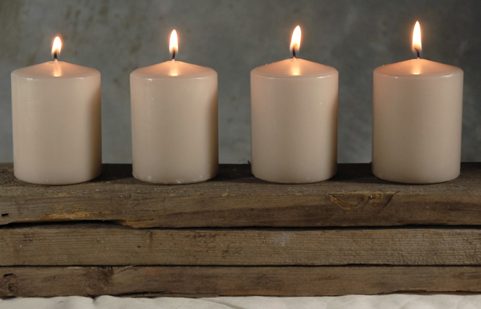 Small Pillar Candles 3 Inch Sandstone pack of 4